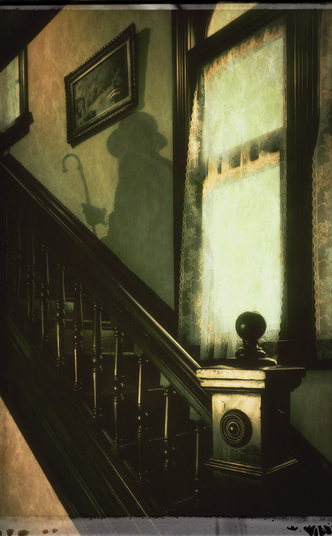A capture of the rear stairs ghost who haunted the home of author James Thurber. This image is used by the Thurber House as a postcard promotion.