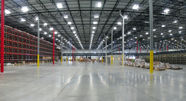 Interior panoramic view of warehouse space for a textbook publisher.