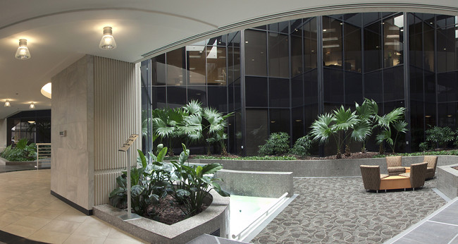 Panoramic interior view of the lobby of a commercial office site.