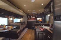 Commercial interior of a horse trailer, the living quarters for the riders.