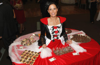 Night of Chocolate featuring the Table Lady with her moving table of samples
