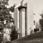 Exterior of the Turner residence, the Tower House at Rush Creek Village, Worthington, Ohio, 1971