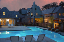 Exterior residential pool and pool house addition