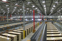Panoramic view of warehouse used by book publishing company.