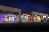 Exterior commercial property, dusk at Hill Road plaza. Image created to support investment offer.