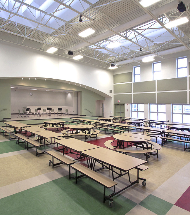 Kae elementary school cafeteria. The view illustrates Leeds objective of adjustable sky lights.
