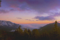 Sequoia National Park, sunset at eight thousand feet with snow capped mountains