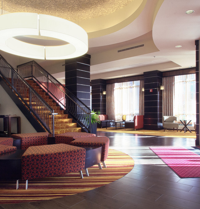 Recently re-decorated interior of the Hampton Inn at the short north section in Columbus Oh.