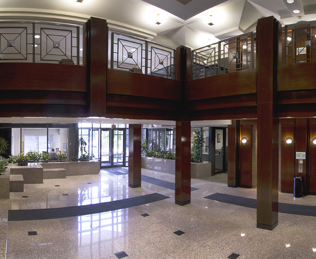Tight spaces can be handled with short panoramic image processes. This lobby is comprised of five separate exposures then assembled in post production to illustrate a broader view.