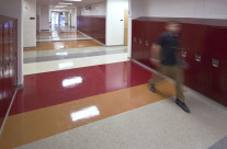 New Whitehall High School. Image taken to illustrate the use of the colored tiled floor.