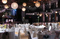 A room set for a wedding reception