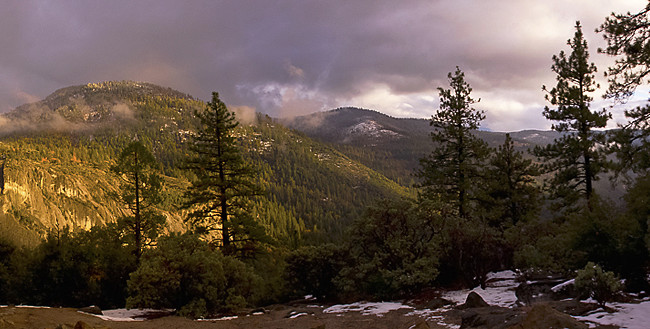 Yosemite National Park, near the top of the high valley. A mountain sunset.