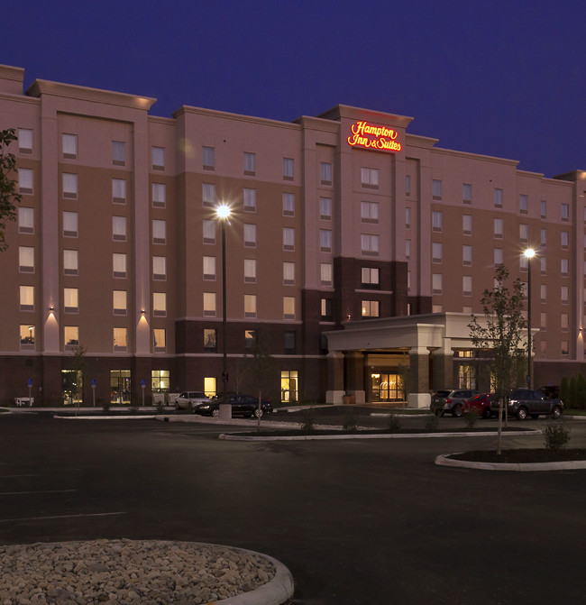 Evening view of the newly opened Hampton Inn Suites hotel in Columbus Oh. at Olentangy River rd.
