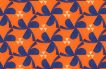 Blue clover or sharp edged orange ninja throwing disks, as a ground reversal process teases the eye.