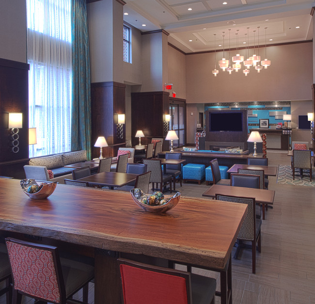A lobby interior of the newly constructed Hampton Inn & Suites in Columbus Ohio