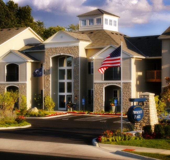 Exterior view of a multi unit apartment complex. The image was used in promotional material.