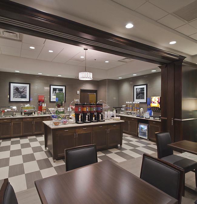 Commercial interior of Hampton Inn & Suites. A new hotel north of The Ohio State University in Columbus Ohio.