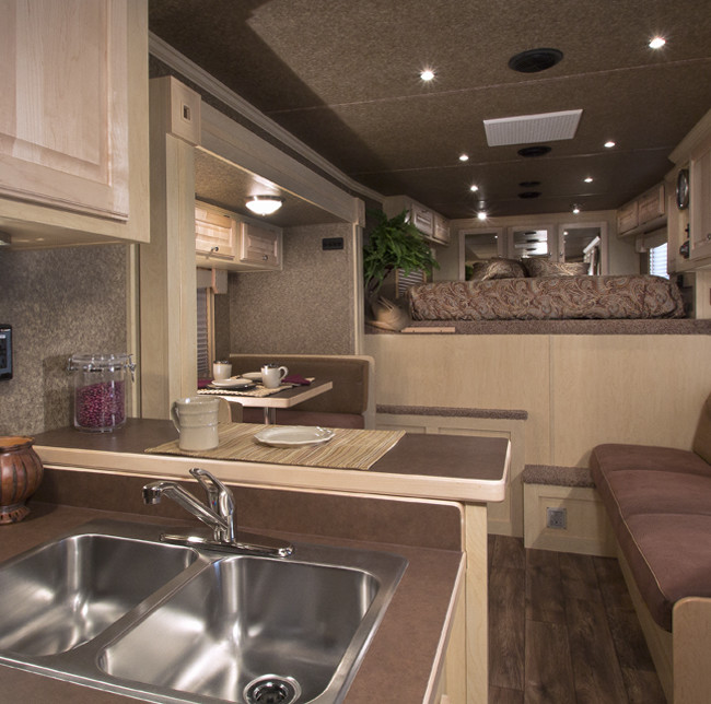 Interior of a long distance travel horse trailer, illustrating the living quarters for humans, of course if one's horse is a pony and house broken then welcome it inside too.