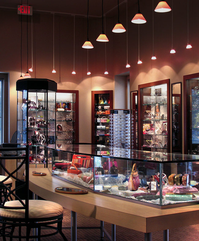 Interior sales space of a full service optometry complex