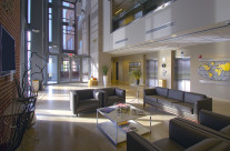 An interior lobby view used to showcase new corporate headquarters.