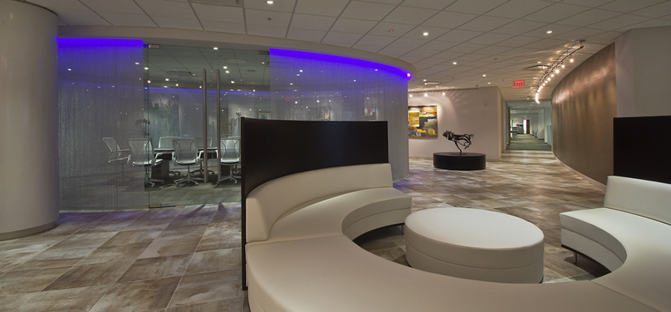 New headquarters for an architectural firm. This lobby interior view is of their own design.