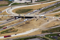 A progress aerial of Grove City's new bridge and access to interstate 71.