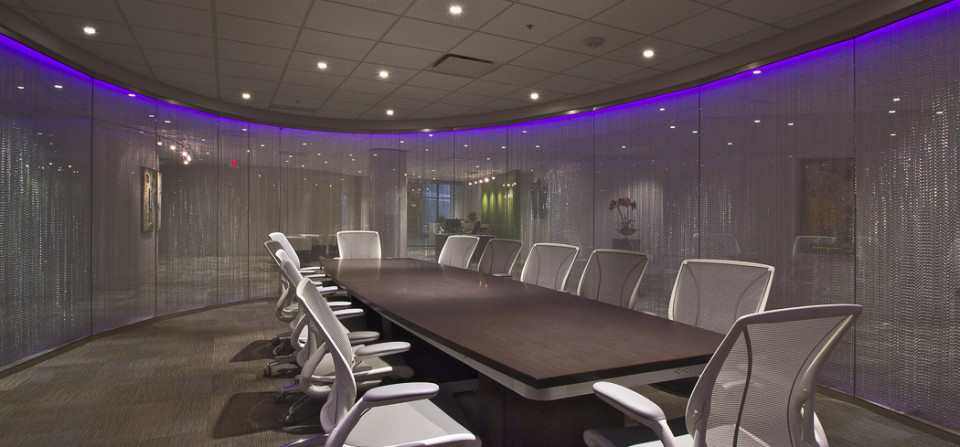 New office space for an architectural firm. This conference space is surrounded by over a thousand lengths of chains.