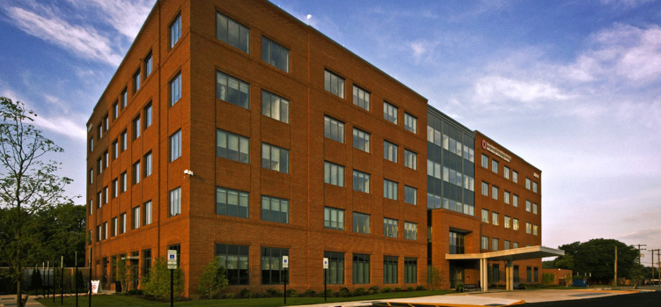 Exterior view of the new OSU Wexner outpatient medical center in Upper Arlington, Ohio