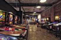 From an old car repair garage to a bar with bowling and pin ball it's Pins Mechanical Company